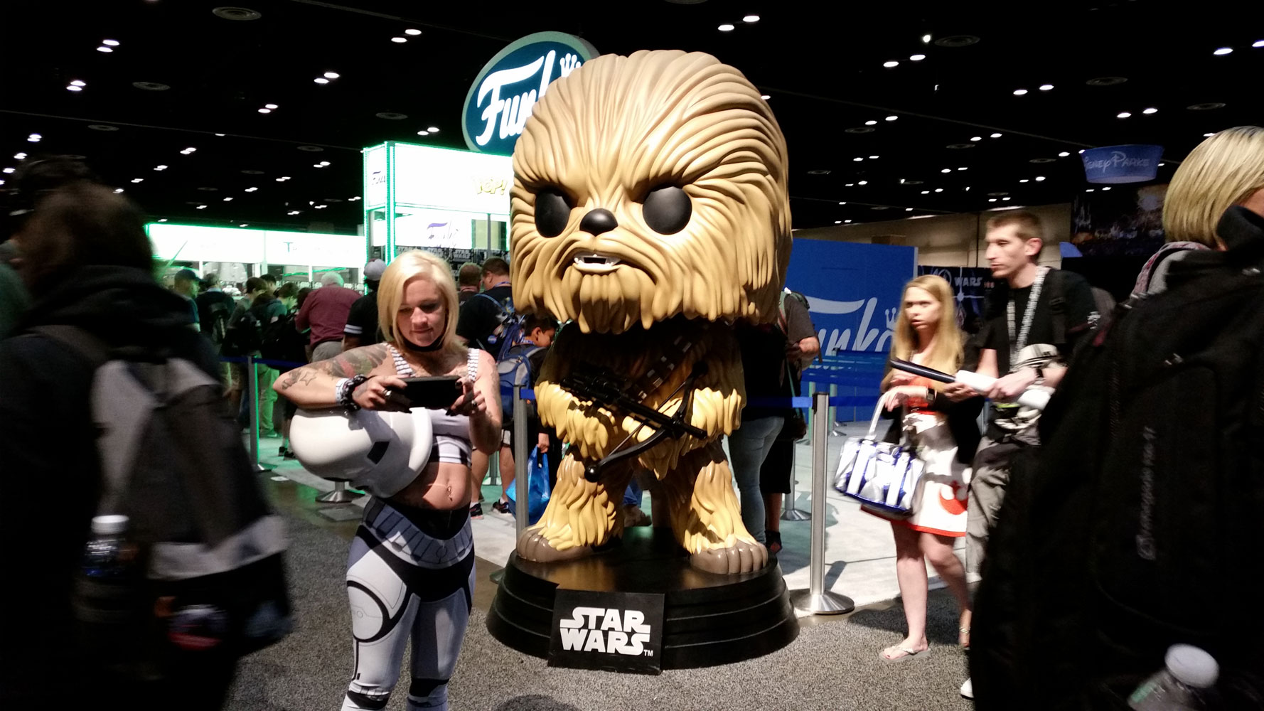 Cute Stormtrooper Girl with Giant Chewie Funko Pop