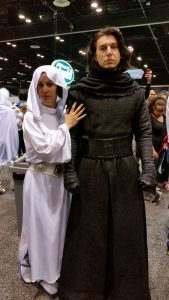 One of the best Kylo Ren cosplayers on the floor! Doesn't he look like Adam Driver?!